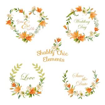 Etiquetas e banners florais vintage para designs de camisetas