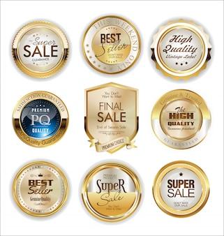 Etiquetas e crachá dourado
