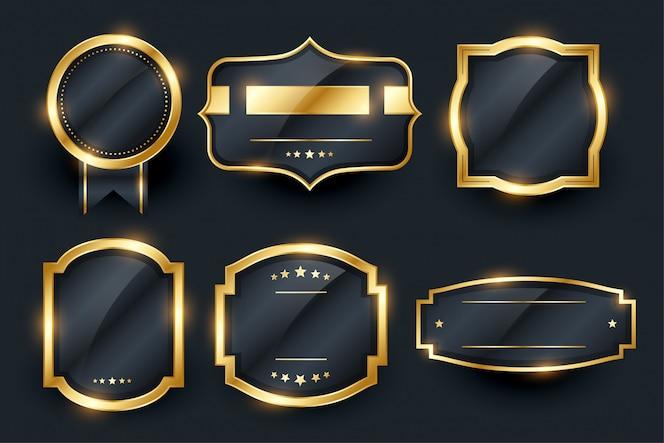 Etiquetas e emblema dourado de luxo cenografia