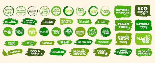 Etiquetas e emblemas alimentos orgânicos, naturais e saudáveis, alimentos frescos e vegetarianos