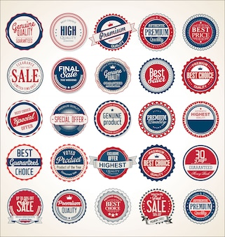 Etiquetas e emblemas azuis e vermelhos vintage retrô