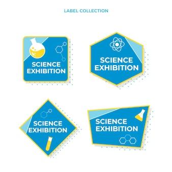 Etiquetas e emblemas científicos de design plano