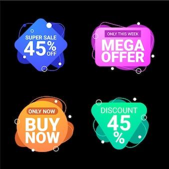 Etiquetas e emblemas de vendas abstratos de gradiente