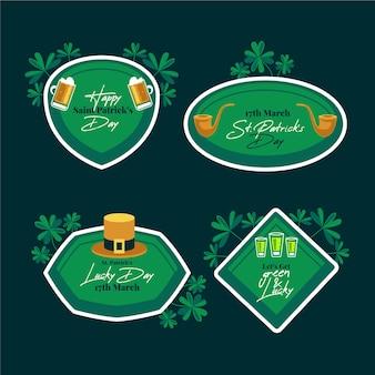 Etiquetas e emblemas do dia de são patrício verdes com folhas