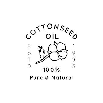 Etiquetas e emblemas do forro de óleo de semente de algodão puro - ícone vetorial, etiqueta, carimbo, etiqueta flor de algodão isolada no fundo branco - logotipo de óleo orgânico natural.