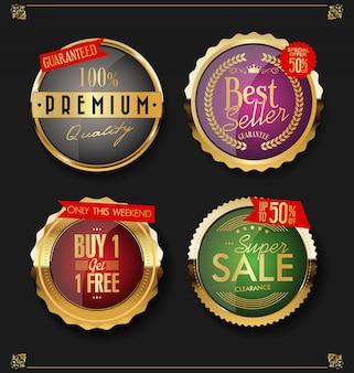 Etiquetas e emblemas dourados premium de luxo