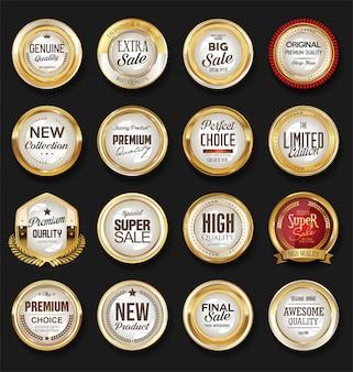 Etiquetas e emblemas dourados vintage retrô