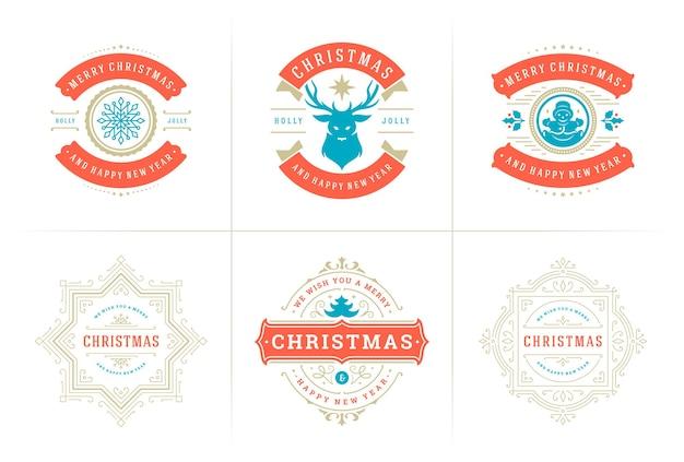 Etiquetas e emblemas ornamentados de tipografia de vetor de natal feliz ano novo e desejos de férias de inverno