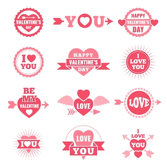 Etiquetas e emblemas para dia dos namorados. símbolos do amor