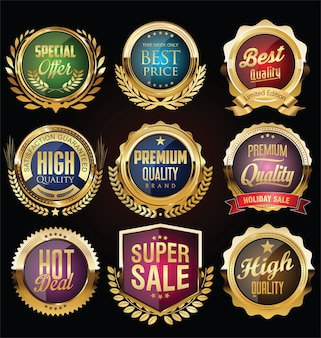 Etiquetas e escudos retrô vintage dourados