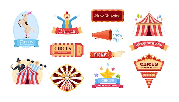 Etiquetas e letreiros de circo. emblema de cartaz publicitário com palhaço, cavalo animal treinado, tenda, homem forte, balões de ar. banner de boas-vindas da promoção do ponteiro. desenho vetorial de entretenimento e diversão