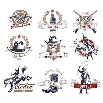 Etiquetas e logotipos coloridos de rodeio