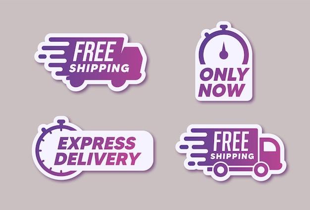 Etiquetas e logotipos de entrega modernos.