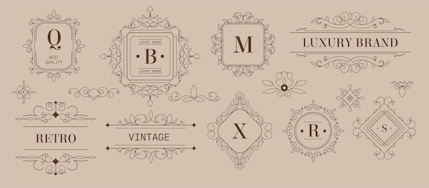 Etiquetas e logotipos, design de marcas de luxo com ornamentos e formas. emblemas de desenho monocromático vintage com inscrições e elementos decorativos. produto de qualidade premium. vetor em estilo simples