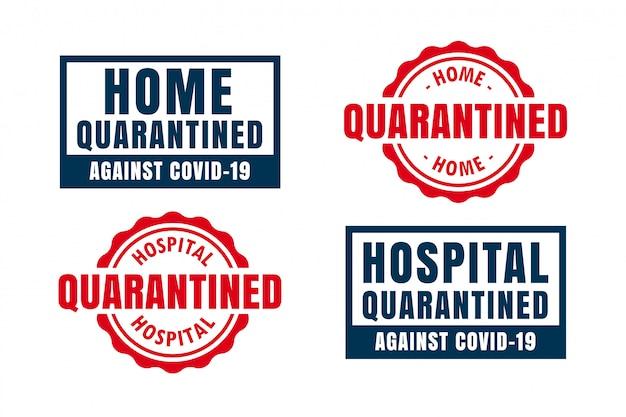 Etiquetas e símbolos de quarentena em casa e hospital