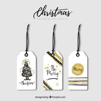 Etiquetas elegante do natal com detalhes dourados