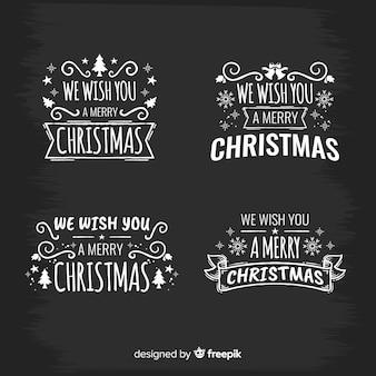 Etiquetas elegantes do natal com estilo do quadro-negro