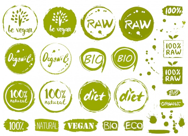 Etiquetas, elementos e etiquetas de alimentos orgânicos