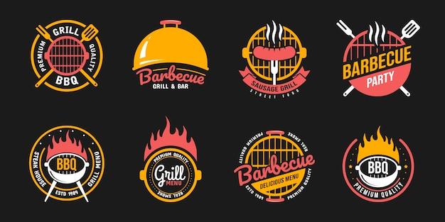 Etiquetas, emblemas, logotipos e emblemas de churrasco e grelha