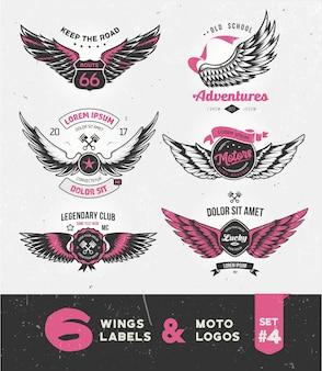 Etiquetas, emblemas, texto e elementos de design vintage com asas.
