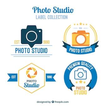 Etiquetas estúdio de fotografia em design plano