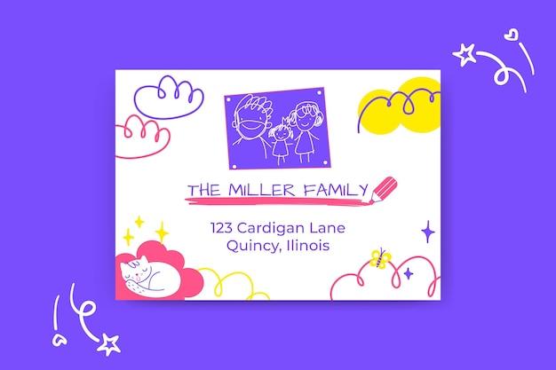 Etiquetas familiares com endereços infantis coloridas