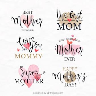 Etiquetas fantásticas com corações decorativos para o dia das mães