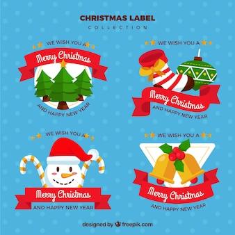 Etiquetas fantásticas de natal com fitas vermelhas