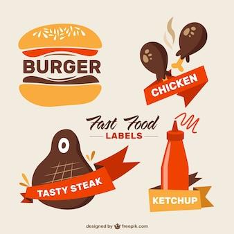 Etiquetas fast food desenhados mão