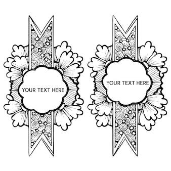 Etiquetas florais em preto e branco desenhadas à mão