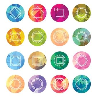 Etiquetas geométricas abstratas definidas com ícones de logotipo