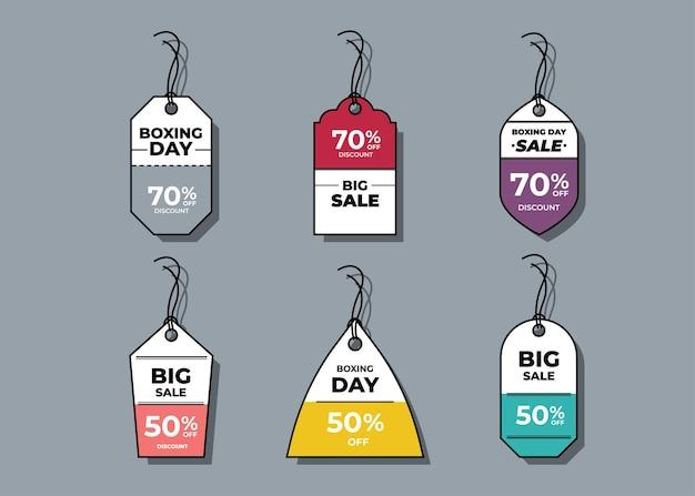 Etiquetas horizontais de venda e etiqueta de preço, venda de cartão e etiqueta de desconto.
