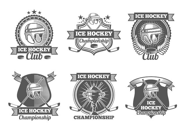 Etiquetas, logotipos e emblemas vintage de hóquei no gelo