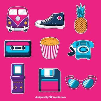 Etiquetas modernas com estilo pop art