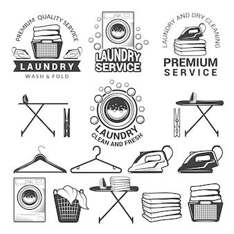 Etiquetas monocromáticas de serviço de lavandaria.