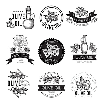 Etiquetas monocromáticas diferentes de produtos e ingredientes de azeitona. imagens de vetor para design de embalagem com lugar para o seu texto