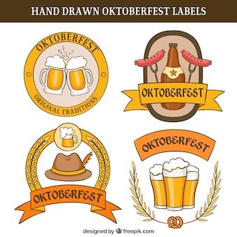 Etiquetas oktoberfest desenhados à mão