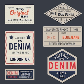 Etiquetas originais do denim de jeans azuis do vintage, marcas exclusivas genuínas, ilustração do vetor