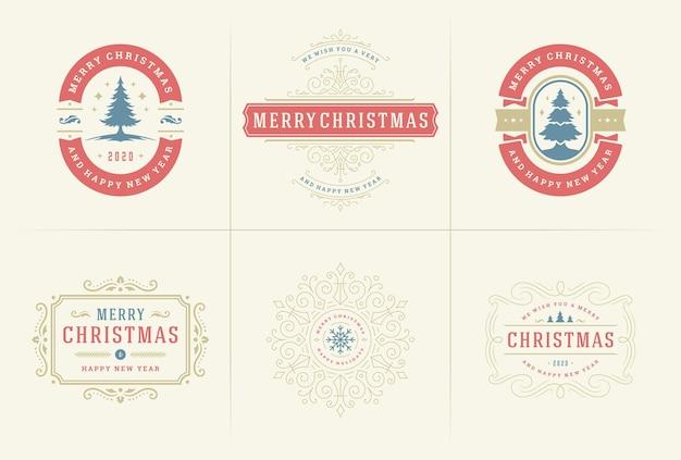 Etiquetas ornamentadas de vetor de natal e emblemas com tipografia de desejos de feliz ano novo de feriados para