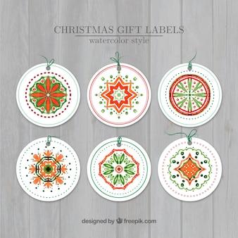 Etiquetas ornamentais do natal no estilo da aguarela