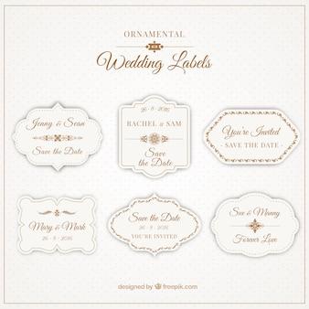 Etiquetas ornamentais para casamentos