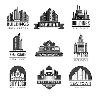 Etiquetas ou logotipos com fotos de diferentes edifícios modernos