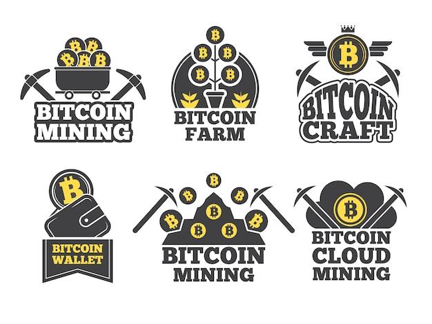 Etiquetas ou logotipos para empresas. emblemas monocromáticos para a indústria criptográfica