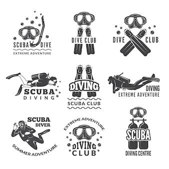 Etiquetas ou logotipos para o clube de mergulho.