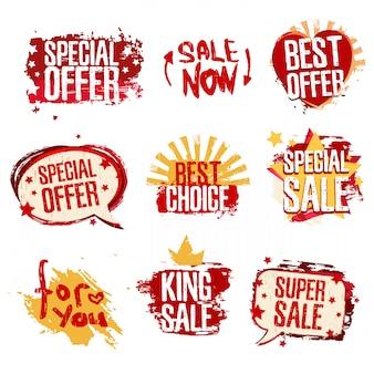 Etiquetas para conjunto de vendas