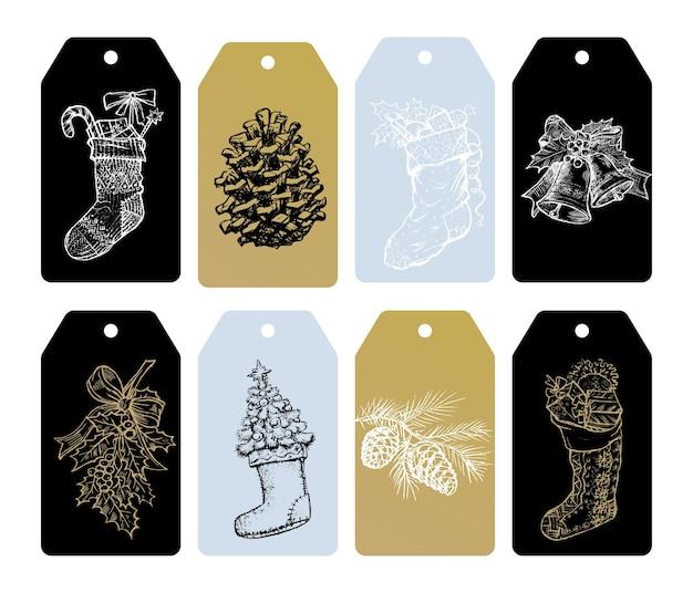 Etiquetas para presente de feliz natal de enfeites dourados