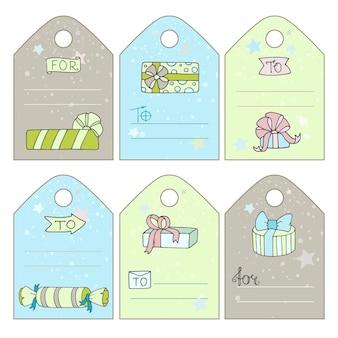Etiquetas para presentes fofas com caixas de presente de desenho animado