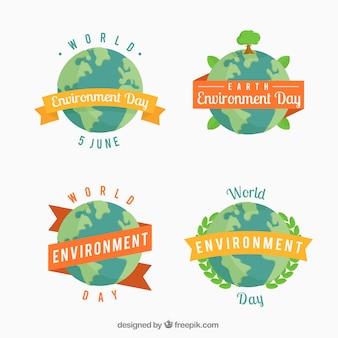 Etiquetas planas do dia do ambiente do mundo com fitas decorativas