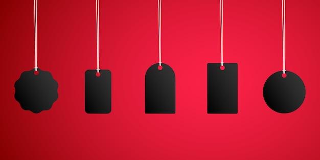 Etiquetas pretas de venda de sexta-feira negra.