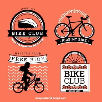Etiquetas pretas e laranja bicicleta